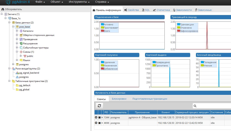 pgAdmin 4 (Подключение и настройка для 1С)